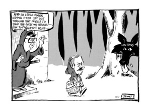 Lynch, James Robert, 1947- :'And so Little Roger Riding Hood set out through the forest to take the goods and services tax to Parliament House...' 1 April 1985