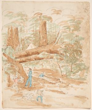[Heaphy, Charles], 1820-1881 :[Gold mining, Driving Creek, Coromandel. 1852]