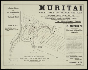 Muritai [cartographic material] : great sale of seaside sections.