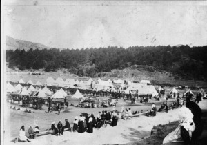 Military camp in Newtown Park, Newtown, Wellington, for soldiers leaving for the South African War