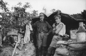 Two soldiers in a dug-out, Gallipoli, Turkey