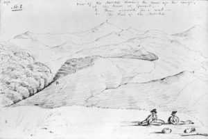 [Drake, James Charles] 1821-1865? :View of the Moketap shewing the route up the range ; A. The track at present. B More acces[s]ible for a road. C. The peak of the Moketap / [James Charles Drake] [11 Jan 1844]