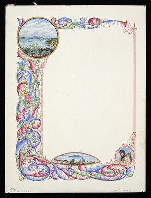 [Palmer, Charles?], 1841?-1928 :[Decorative border of leaf design with scenic vignettes. 1900-1929?]
