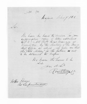 Hawke's Bay. McLean and J D Ormond, Superintendents - Letters to Superintendent