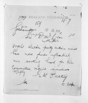 Native Minister and Minister of Colonial Defence - Telegrams re Vogel's election