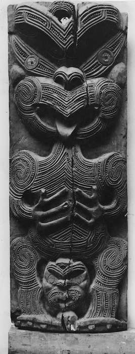 Maori wooden carved panel, Spa Hotel dining room, Taupo
