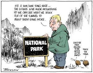 """Tremain, Garrick 1941- :""""It's a win/win thing here...the locals love huge mountains..."""". 16 June 2013"""