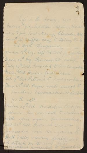 Robbie, George Alexander, 1875-1917 : Diary