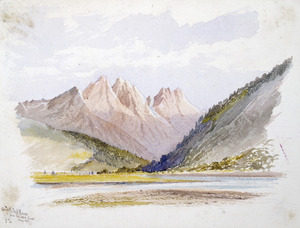 Hodgkins, William Mathew, 1833-1898 :The Toothpeak Ranges from the Caple's River, May 1876