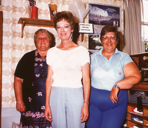 Photograph of Margaret Busby, Post mistress Jane Lawrence, and Mary Martin in Normanby Post Office