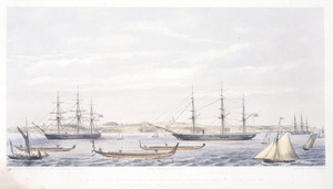 Stack, Frederick Rice :View of Auckland Harbour, New Zealand, taken during the regatta of January, 1862 (the race of the Maori war canoes). Drawn from nature by F R Stack. Day & Son, lithrs to the Queen. London, Day & Son, 1862.