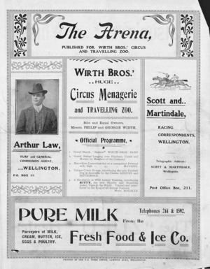 Wirth Bros.' huge circus menagerie and travelling zoo. Sole and equal owners, Messrs Philip and George Wirth. Official programme. [Front cover. 1903].
