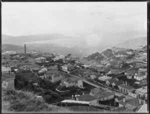 Part 1 of a 4 part panorama looking over the suburb of Brooklyn, Wellington
