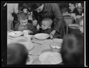 Small boys eating a meal at Polish children's refugee camp, Pahiatua