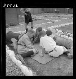 Boys playing a game at a Polish refugee camp, Pahiatua