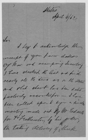 Letter from Henry Nevinson Harrison