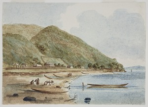 [Merrett, Joseph Jenner] 1815-1854 :Pahia Beach, Bay of Islands. [1848]