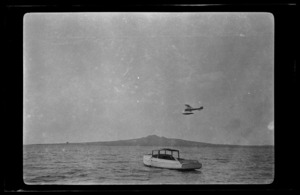 "B&W Boeing seaplane ""F"" in flight over Waitemata Harbour, Auckland"