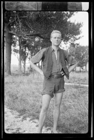Portrait of Tom Reid, student pilot at the New Zealand Flying School, Kohimarama, Auckland