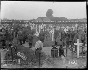 Last Post is played at the funeral of Brigadier-General F E Johnston, Bailleul, France, World War I