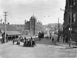 View down Lambton Quay from its termination with Mulgrave Street, Wellington