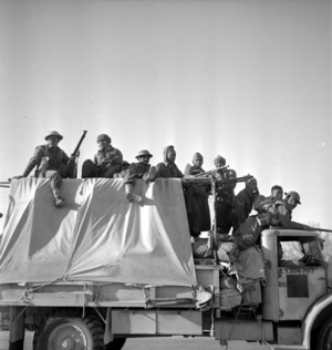 Paton, H fl 1942 : Members of the Maori Battalion travelling from Alamein, Egypt to Tripoli