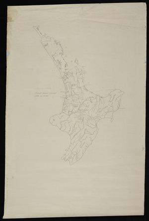 [Jones, Pei Te Hurinui, 1898-1976] :Tainui area, principle features & principal battles up to 1800 [map with ms annotations]. [Pre 1800]