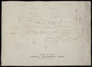 [Creator unknown] :Plan of part of Pirongia development scheme [copy of ms map]. [n.d.]