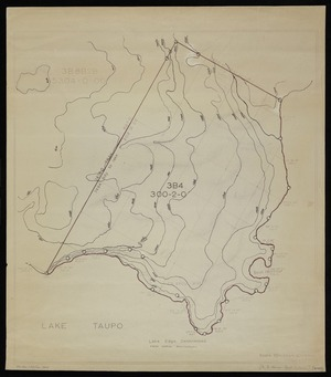 Te Kanawa, J, fl 1958 :Lake Taupo, [Section 3B4, with contour lines] [copy of ms map]. J Tekanawa, 12.6.1958