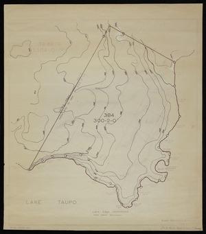 Te Kanawa, J, fl 1958 :Lake Taupo, [Section 3B4, with contour lines] [copy of ms map]. J Tekanawa, 12.6.1958