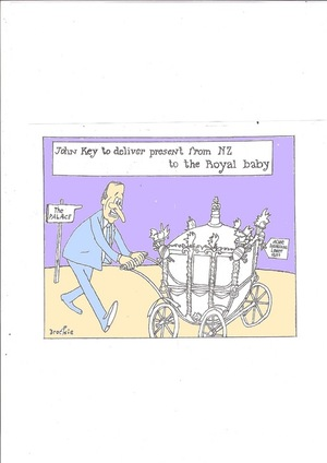 Brockie, Robert Ellison, 1932- : John Key to deliver present from NZ to the Royal baby. 12 July 2013