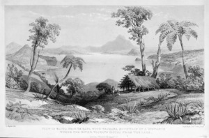 [Merrett, Joseph Jenner] 1815-1854 :View of Taupo from Te Rapa with Tauhara mountain at a distance ; where the River Waikato issues from the lake / L. Haghe lith ; Day & Haghe lithrs - London ; J Murray [1843]