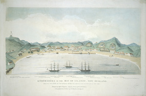 Clayton, George Thomas fl 1845 :Kororareka in the Bay of Islands, New Zealand. Sketched Mar 10th 1845 on the morning before the assault and destruction by Honi Heke. Drawn by Captain Clayton, and on stone by W. A. Nicholas. London, E. D. Barlow [1845?]
