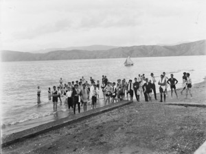 Group of boys in bathing suits at a beach in Seatoun, Wellington
