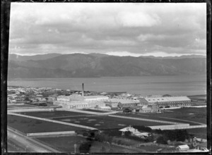 View of Petone from Korokoro, with the Gear Meat Company buildings in centre, ca 1902