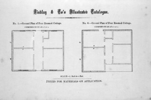 Findlay & Co. :Findlay and Co's illustrated catalogue. No. 5. Ground plan of four roomed cottage. No. 6 Ground plan of four roomed cottage. Scale 1/8 inch to a foot. Prices for material on application. [1874]