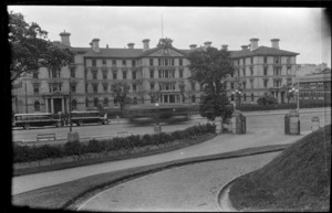 Government Buildings with Bell Bus Company buses outside, Wellington