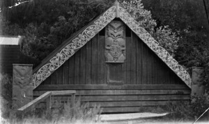 Bath House exterior at the Spa Hotel in Taupo, with Maori carving and painted designs