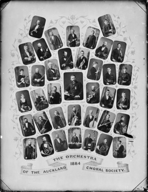 Montage of portraits featuring members of the 1884 Orchestra of the Auckland Choral Society