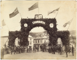 Archway of welcome on Queens Wharf, Wellington