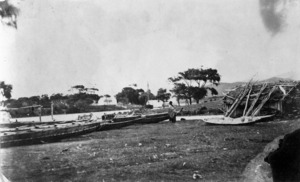 Poho O Rawiri pa, with Turanganui River in the background, Poverty Bay