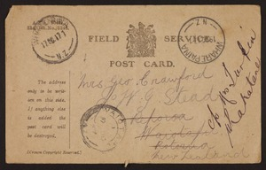 Letters relating to World War One