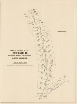Plan of sections in the Hutt District fronting the proposed main road from Hutt to Waikanae [electronic resource] / H. Jackson Chief Surveyor, W.W.J. Spreat, lith,