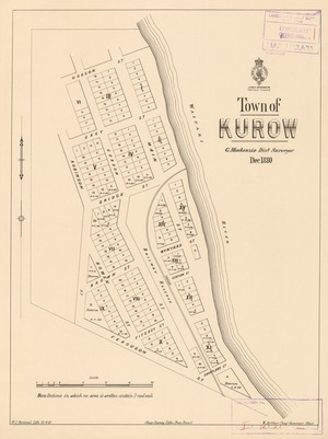 Town of Kurow [electronic resource] / G. Mackenzie, Dist. Surveyor, Dec. 1880 ; W.J. Percival Lith. 12.4.81.