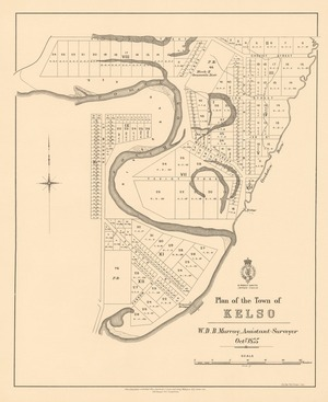 Plan of the town of Kelso [electronic resource] / W.D.B. Murray, assistant surveyor, Octr. 1875 : F.W. Flanagan, chief draughtsman.