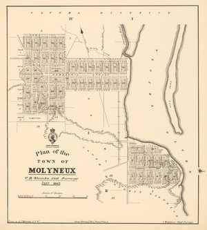Plan of the town of Molyneux [electronic resource] / C.B. Shanks, Asst. Surveyor Jany. 1862 ; drawn by A.J. Morrison, 11.3.87.