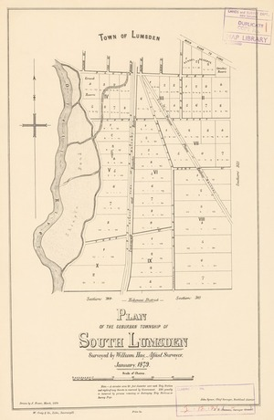 Plan of the suburban township of South Lumsden [electronic resource] / surveyed by William Hay, Assist. Surveyor, January 1879; drawn by J. Fraser, March 1879.