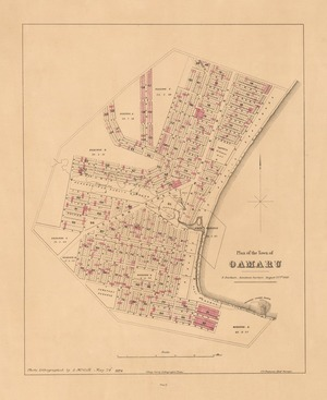 Plan of the town of Oamaru [electronic resource] / F. Fairburn, assistant surveyor, August 22nd. 1860.