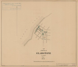 Plan of the town of Gladstone [electronic resource] J.A. Connell, surveyor, May 1863 ; J. Douglas, delt.