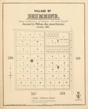Village of Drummond [electronic resource] : being subdivision of section 155 Oreti Hundd. / surveyed by William Hay, assistt. surveyor, November 1882 ; drawn by W. Deverell, March 1883.
